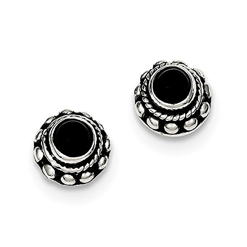 925 Sterling Silver Antiqued Simulated Onyx Earrings (9mm x 9mm)
