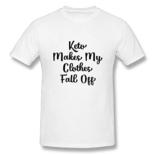 Fall Off T-shirt (Neck Short Sleeve Cotton T Shirt For Men Keto Makes My Clothes Fall Off Tee Shirts SizeKey1 White)