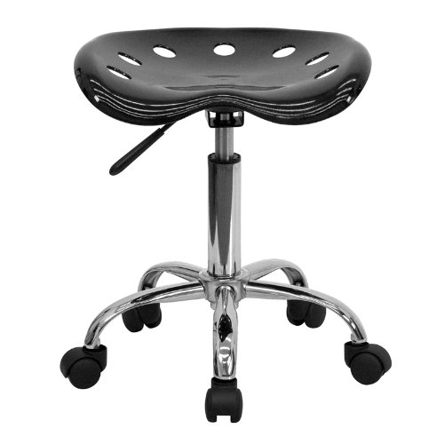 Flash Furniture (LF-214A-BLACK-GG) Vibrant Black Tractor Seat and Chrome Stool, 17W x 15D x 25.75H - Inches by Flash Furniture (Image #3)