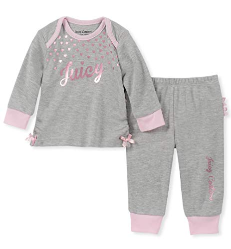 Juicy Couture Baby Girls 2 Pieces Pant Set, Gray Heather, 0-3 Months