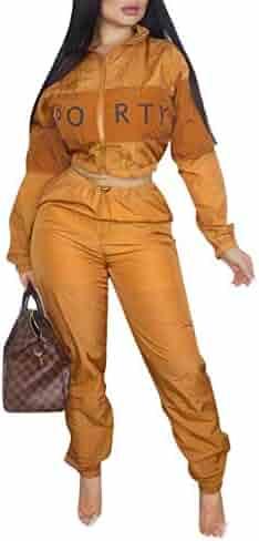 e3960a5e71 OLUOLIN Women s Letter Print 2 Piece Outfit Patchwork Long Sleeve Zipper  Jacket Crop Top Long Pants