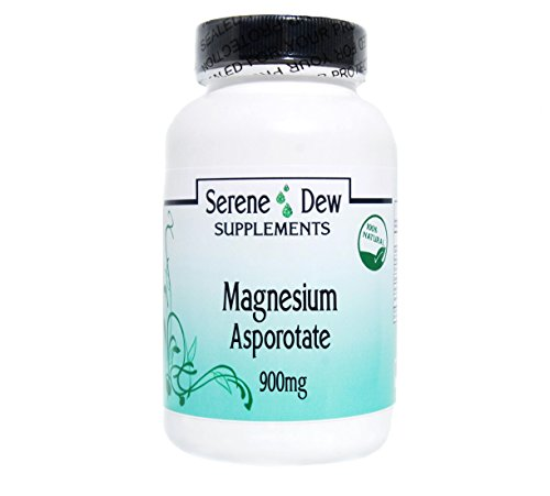 Magnesium Asporotate 900mg 200 Capsules Gluten FREE 100% Natural. Serene Dew Supplements