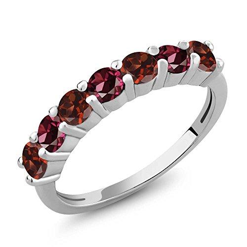 Gem Stone King 1.46 Ct Round Red Garnet Red Rhodolite Garnet 925 Sterling Silver Anniversary Ring (Size 9)