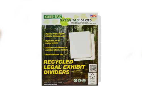 Kleer-Fax Letter-Size Index Dividers, Writeable/Erasable Collated Sets with White Labels, Side Tab, 1/5th Cut, White, 5 Banks of 5 Tabs (91205)