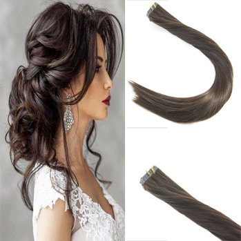Sunny 14inch Tape in Extensions Human Hair 20pcs 50G Remy Hair Extensions Real Human Hair #2 Dark Brown Real Human Hair (Wavy Tape In Real Hair Extensions)