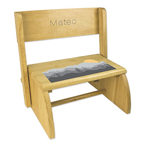 - Personalized Natural Flip and Folding Step Stool with Misty Mountain Design