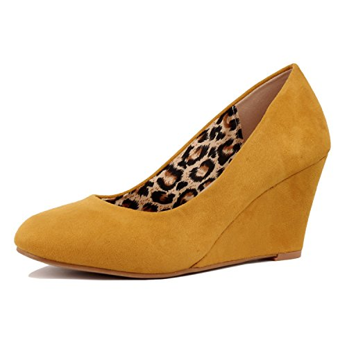 Guilty Shoes - Classic Office Wedge - Comfort Soft Mid Low Heel Round Toe Wedge Pumps (8 B(M) US, Yellow Suede) by Guilty Shoes