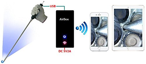 VA-400-WiFi Bundle: Vividia Ablescope VA-400 USB Rigid Articulating Borescope plus VA-B2 WiFi AirBox for iPad iPhone and Android Phone and Tablet