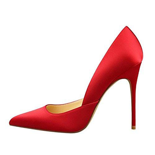 MERUMOTE - Zapatos de vestir de Seda para mujer Rojo