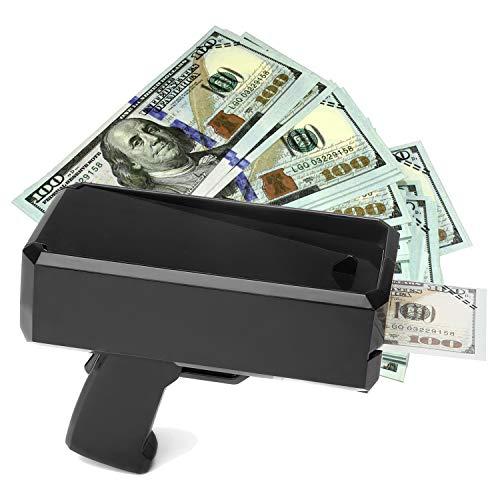 Wowok Black Money Gun with 10,000$ Fake Money, Super Money Guns Paper Playing Spary Money Gun Make it Rain Toy Gun Cash Gun for Game Party Supplies(Battery Included) by Wowok (Image #1)