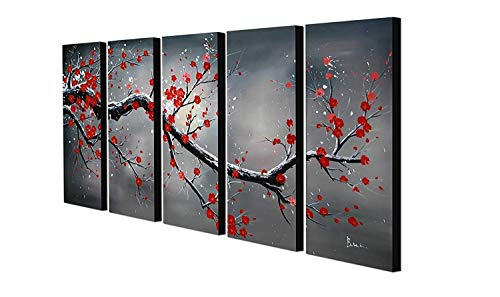 Yatsen Bridge Handpainted Modern Landscape Wall Art for Living Room Home Decor Oil Paintings on Canavs 5 Panels Framed Stretched Ready to Hang Cherry Blossom Tree Picture (60''W x 32''H) (Cherry Blossoms Painted)