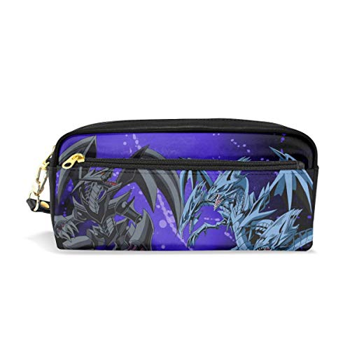 Large Capacity Pencil Pen Case Pouch - Yu-Gi-Oh! Red Eyes Black Dragon Vs Blue Eyes White Dragon Zipper Double Compartment Toiletry Bag Cosmetic Makeup Organizer for School Work Travel (Red Eyes Black Dragon Vs Blue Eyes)