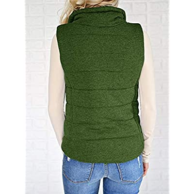 Valphsio Womens Casual Quilted Puffer Vest Lightweight Zip Up Drawstring Jacket Outerwear with Pockets at Women's Coats Shop