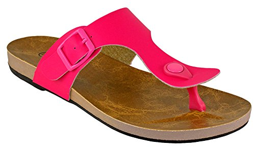 Cambridge Select Women Thong Gesp Flat Slide Sandaal Fuchsia