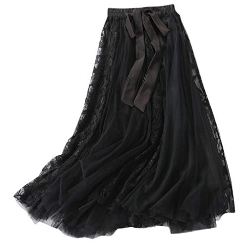 Women's Bohemian Elastic Waist Chiffon Floor Length Skirt, Flowing Maxi Big Hem with Drawstring Black