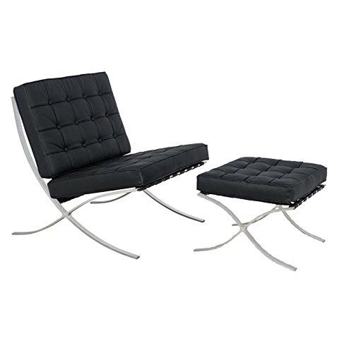 LeisureMod Modern Bellefonte Leather/Wool Pavilion Chair & Ottoman 41M ePbtRDL