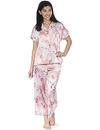 Womens All Over Floral Print Satin Capri Pajamas (Set of 2)