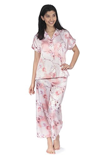 Jones New York Womens Short Sleeve & Capri Floral Satin Pajams Set Comfy Sleepwear Soft Warm PJ