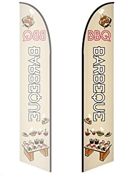 - Style 3 Double-Sided, Poles and Cross Base Included 8ft Feather Banner Barbeque