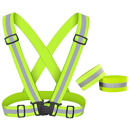 Reflektierende Weste & Reflektorbänder, Einstellbar Elastische Sicherheitsweste Reflektierendes Armband Set, Hohe Sichtbarkeit Atmungsaktive Reflexgurt Gürtel Warnweste für Walking, Jogger, Fahrrad