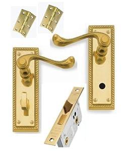 Georgian Brass Lever Bathroom Door Handles 64mm Bathroom Lock 3 Hinges Diy