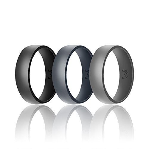 - WIGERLON Mens Silicone Wedding Ring&Rubber Wedding Bands for Workout and Sports Width 8mm Pack of 3