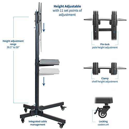 VIVO Mobile Height Adjustable TV Cart with Shelf for LCD LED Flat Screens 32'' to 65'' | TV Stand Mount with Wheels (STAND-TV05K) by VIVO (Image #2)