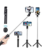Selfie Stick, Extendable Selfie Stick Tripod with Wireless Remote and Tripod Stand, Portable, Lightweight- for iPhone 12, 11, XR, X, 8, 7, Pro, Max, Plus, SE, Android Phone, Smartphone