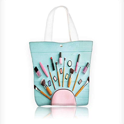 Canvas Zipper Tote Bag Printed makeup bag with cosmetic products and brushes on wooden background Reusable Canvas Zipper Tote Bag Printed 100% Cotton W11xH11xD3 INCH