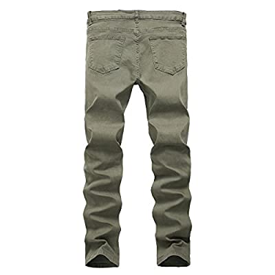 PrettyChic Men's Ripped Jeans Vintage Fitted Stretchy Tapered Leg Destroyed Jeans, Army Green, Tag Size 42=US Size 44 at  Men's Clothing store