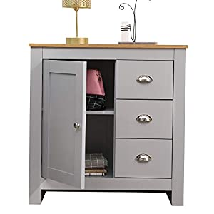 CFDZ CF Furniture Multi Storage Unit Free Standing Cabinet 1 Door&3 Drawer Sideboard Cupboard- Grey+Oak,79x35x81cm