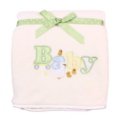 "SpaSilk Unisex-baby Newborn Push 2-Ply Extra Thick Plush Blanket, Ivory ""Baby"",  One Size"