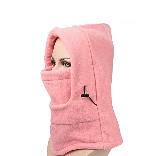 Ezyoutdoor Fleece Balaclava Hooded Face Mask Swat Ski Neck Hoods Full Face Mask Cover Hat Cap for Riding Cycling Hunting Fishing Walking Outdoor Sports (Pink)