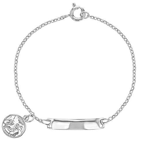 743325e6cd3d Barato 925 plata de ley etiqueta de identificación ID pulsera de ángel de  la guarda medalla