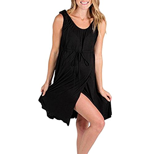 Maternity Dress,Gillberry Womens Ruched Sides Knee Length Shirred Dress Split Front Maxi Pregnancy Photography Dress and Baby (Black, Bust-39.4