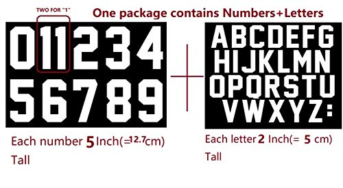 Jersey Letter - 5 Inch Iron On Numbers 0 to 9 and 2 Inch Iron On Leters for Sports Team T-Shirt Jersey(White kit)