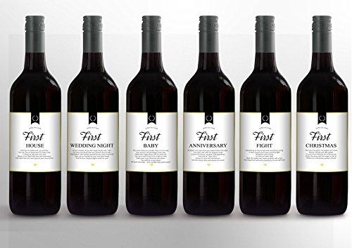 6 Piece Wine Bottle Labels for Wedding Milestones, Wedding Gift, Wedding Party