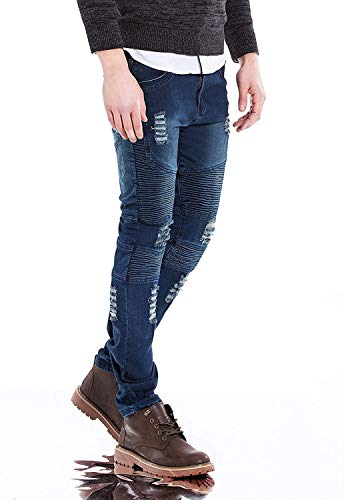 Distrutti Slim Jeans Da Moda Stretch Vintage Fit Especial Estilo Blau Uomo Casual Pantaloni Strappati Denim rxrqw8gHt
