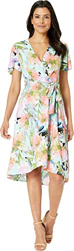 London Times Women's Wrap Dress w/Flutter Sleeveless Blue/Iris 6