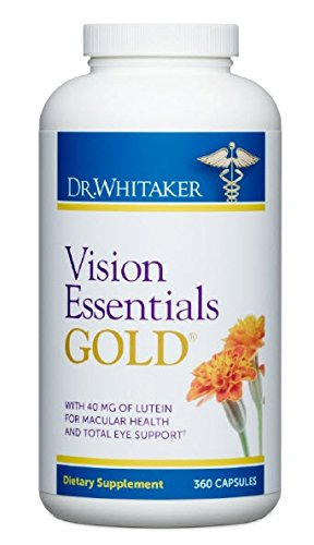Dr. Whitaker's Vision Essentials Gold with 40 mg of Lutein Plus 16 Vision Supportive Nutrients for Premium Eye Nourishment and Support, 360 capsules (90 day supply)