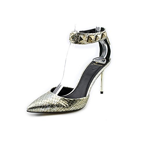 Womens Size 5 Silver Faux Leather Pumps Heels Shoes ()