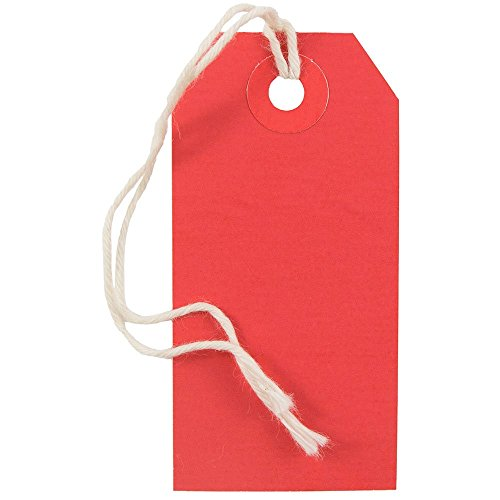 JAM Paper® Gift Tags with String - Small - 3 1/4'' x 1 5/8'' - Red - 1000/carton by JAM Paper