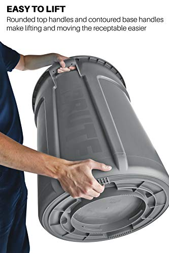 Rubbermaid Commercial Products FG264360GRAY BRUTE Heavy-Duty Round Trash/Garbage Can, 44-Gallon, Gray by Rubbermaid Commercial Products (Image #4)