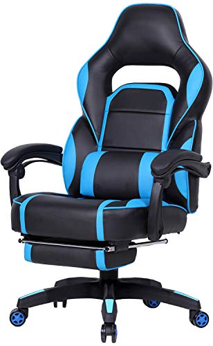 GTPLAYER Reclining Memory Foam Racing Gaming Chair High-Back Ergonomic Adjustable Computer Desk Office Chair with Retractable Footrest and Lumbar Cushion Blue