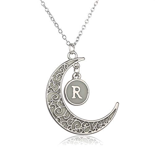 Collection Fluorescent Pendant - FM FM42 Initial R Letter Glow in The Dark Moon Pendant Necklace GN4033