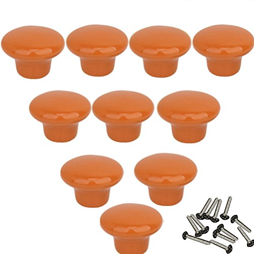 NingMi 39.5mm Round Ceramic Knobs Cupboard Drawer Ceramic Cabinet Wardrobe Pull Handle Color Orange Pack of 10 pime (Orange Cabinet Handles compare prices)