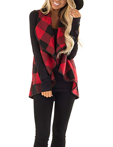 Leggings Plaid Wool (Unidear Womens Sleeveless Lapel Open Front Irregular Hem Plaid Vest Cardigan Jacket with Pockets #2Red XL)
