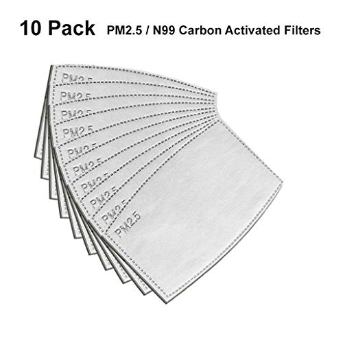 EnjoCho ✈※ PM2.5 Activated Carbon Filter Replaceable Anti Haze Filter Paper for Mask (10PCS, Gray+White)