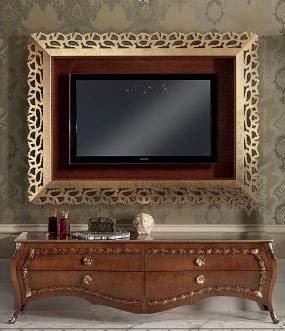 Porta Tv Foglia Oro.Base Porta Tv Colore Legno Scuro Decorazione Con Foglia Oro H