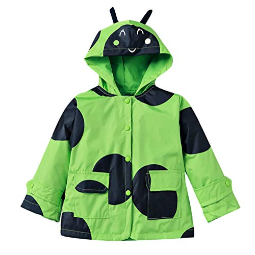 (Waterproof Raincoat Boy Hooded Windbreaker Long Sleeve Outwear Jacket Cartoon Green 110)